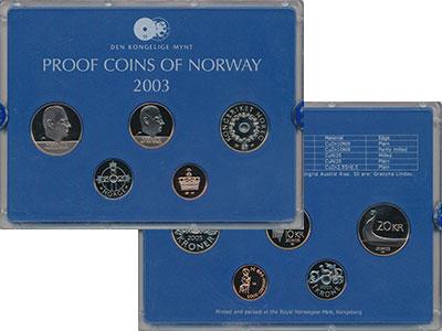 Изображение Подарочные монеты Норвегия Набор 2003 года 2003  Proof В набор входят пять