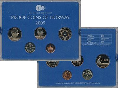 Изображение Подарочные монеты Норвегия Набор 2005 года 2005  Proof В набор входят пять