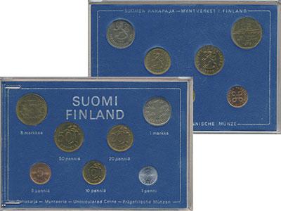 Изображение Подарочные монеты Финляндия Набор 1975 года 1975  UNC В набор входят семь