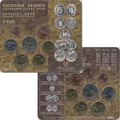 Изображение Подарочные монеты Греция Евронабор 2006 года 2006  UNC В набор входит восем