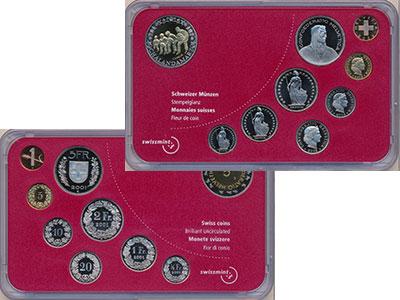 Изображение Подарочные монеты Швейцария Набор 2003 года 2003  BUNC В набор входит восем