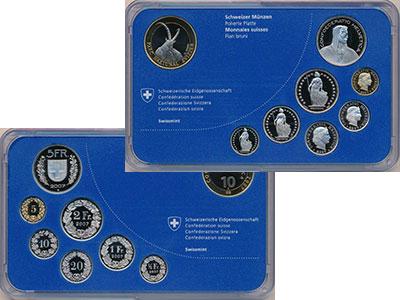 Изображение Подарочные монеты Швейцария Набор 2007 года 2007  Proof В набор входит семь