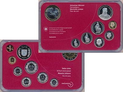 Изображение Подарочные монеты Швейцария Набор 2008 года 2008  BUNC В набор входит семь