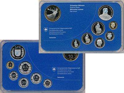 Изображение Подарочные монеты Швейцария Набор 2009 года 2009  Proof В набор входит семь