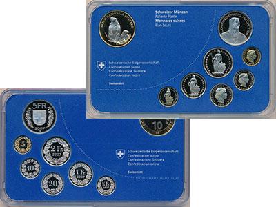 Изображение Подарочные монеты Швейцария Набор 2010 года 2010  Proof В набор входит семь