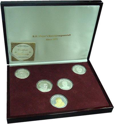 Изображение Подарочные монеты Мальтийский орден Великие люди мира 2003 Серебро Proof Набор из пяти монет