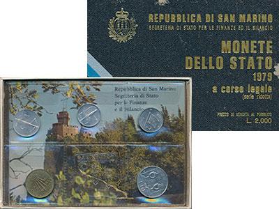 Изображение Подарочные монеты Сан-Марино Набор 1979 года 1979  UNC Набор из 5 монет от