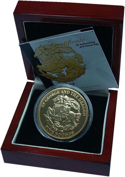 Изображение Подарочные монеты Тристан-да-Кунья 5 фунтов 2012 Позолота Proof Святой Георгий. Пода