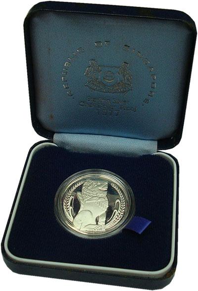 Изображение Подарочные монеты Сингапур 1 доллар 1977 Серебро Proof Оригинальная упаковк