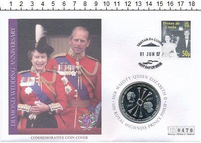 Изображение Подарочные монеты Тристан-да-Кунья 5 фунтов 2007 Медно-никель UNC 60 лет свадьбы Елиза