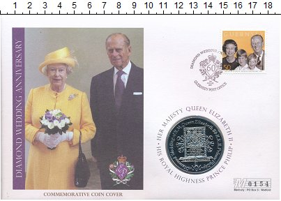 Изображение Подарочные монеты Виргинские острова 1 доллар 2007 Медно-никель UNC 60 лет свадьбы Елиза