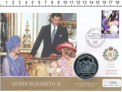 Изображение Подарочные монеты Гибралтар 1 крона 2005 Медно-никель UNC 80 лет Елизавете II.
