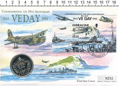 Изображение Подарочные монеты Гибралтар 5 фунтов 1995 Медно-никель UNC 50 лет VE Day. Ориги