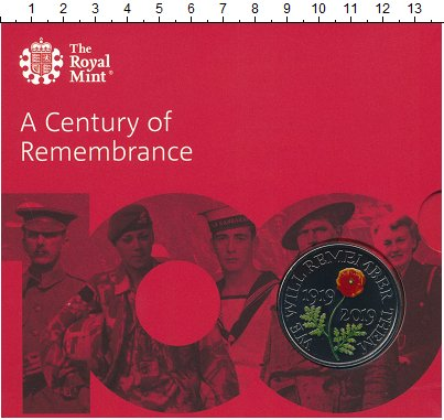 Изображение Подарочные монеты Великобритания 5 фунтов 2019 Медно-никель UNC Век памяти.Оригиналь