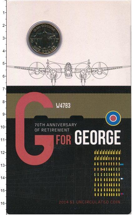Изображение Подарочные монеты Австралия 1 доллар 2014 Латунь UNC G for GEORGE. Оригин