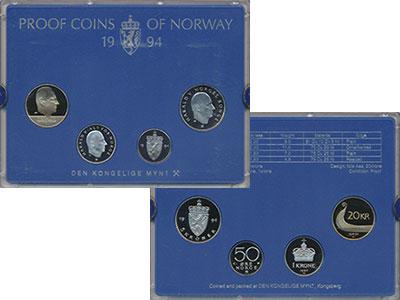 Изображение Подарочные монеты Норвегия Набор 1994 года 1994  Proof Набор из 4 монет от