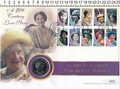 Изображение Подарочные монеты Гернси 5 фунтов 1999 Медно-никель UNC Королева мать. Ориги