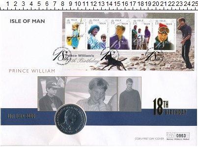 Изображение Подарочные монеты Остров Мэн 1 крона 2000 Медно-никель UNC Принц Уильям. Оригин