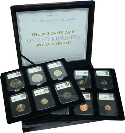 Изображение Подарочные монеты Великобритания Набор 2015 года 2015  UNC Набор из 12 монет от