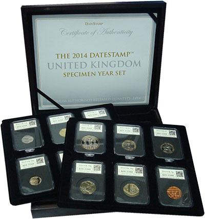 Изображение Подарочные монеты Великобритания Набор 2014 года 2014  UNC Набор из 12 монет от