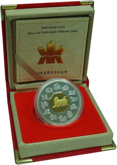 Изображение Подарочные монеты Канада 15 долларов 1998 Серебро Proof- Год тигра. Оригиналь