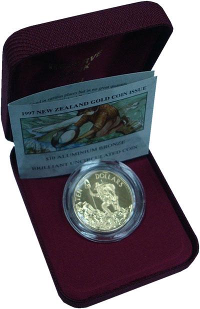 Набор монет Новая Зеландия 10 долларов Латунь 1997 UNC