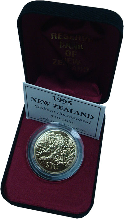 Изображение Подарочные монеты Новая Зеландия 10 долларов 1995 Латунь UNC Золотая лихорадка. О