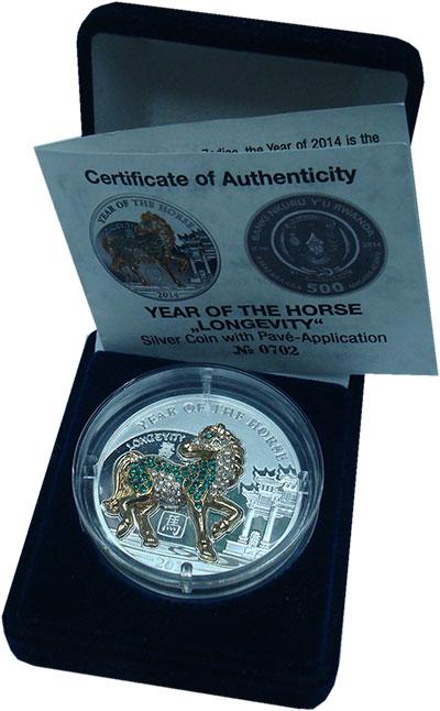 Изображение Подарочные монеты Руанда 500 франков 2014 Серебро Proof Год лошади. Подарочн
