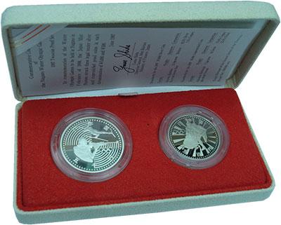 Изображение Подарочные монеты Япония Нагано 1998 1997 Серебро Proof Набор из 2 монет ном