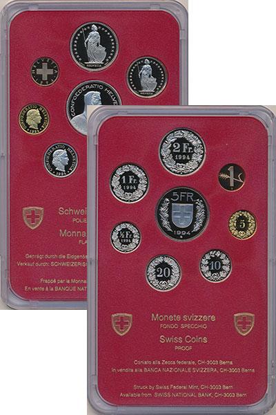 Изображение Подарочные монеты Швейцария Набор 1994 года 1994  Proof Набор из 8 монет от