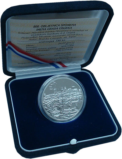Изображение Подарочные монеты Хорватия 150 кун 1996 Серебро Proof- 800 лет Осиек. Ориги