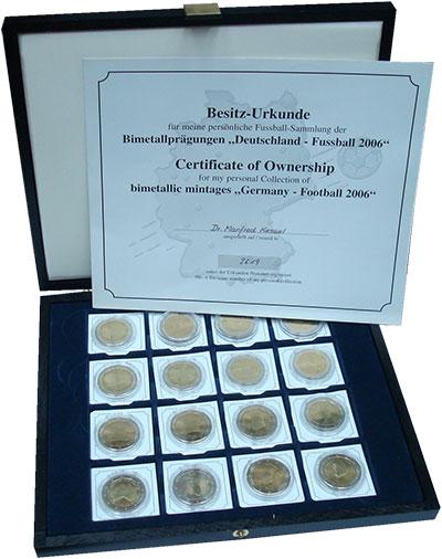 Изображение Подарочные монеты Германия Чемпионат Мира по футболу в Германии 2006 Биметалл UNC Набор из 16 жетонов.