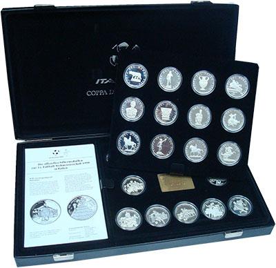 Изображение Подарочные монеты Германия Чемпионат Мира по футболу в Италии 1990 Серебро Proof- Набор из 24 серебрян