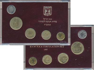 Изображение Подарочные монеты Израиль Набор 1987 года 1987  UNC В наборе 5 монет от