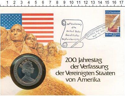 Изображение Подарочные монеты Остров Мэн 1 крона 1987 Медно-никель UNC 200 лет Американской