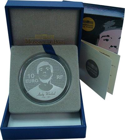 Изображение Подарочные монеты Франция 10 евро 2011 Серебро Proof Энди Уорхол. Серебро