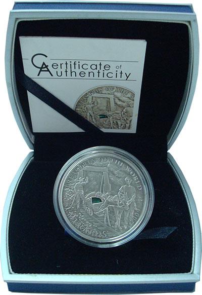 Изображение Подарочные монеты Палау 5 долларов 2009 Серебро UNC Сокровища мира. Изум