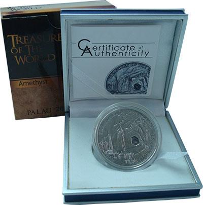 Изображение Подарочные монеты Палау 5 долларов 2013 Серебро UNC Сокровища мира. Амет