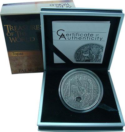Изображение Подарочные монеты Палау 5 долларов 2012 Серебро UNC Сокровища мира. Топа