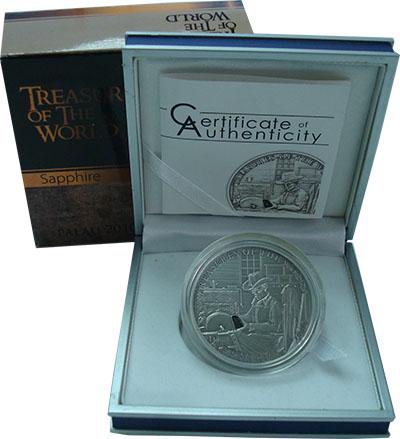 Изображение Подарочные монеты Палау 5 долларов 2010 Серебро UNC Сокровища мира. Сапф