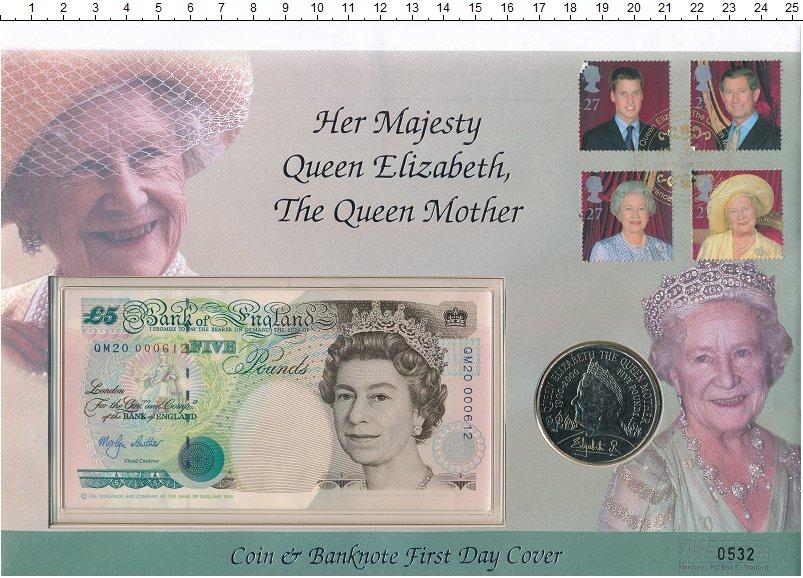 Изображение Подарочные монеты Великобритания Королева мать 2000 Медно-никель UNC Памятный конверт с ю