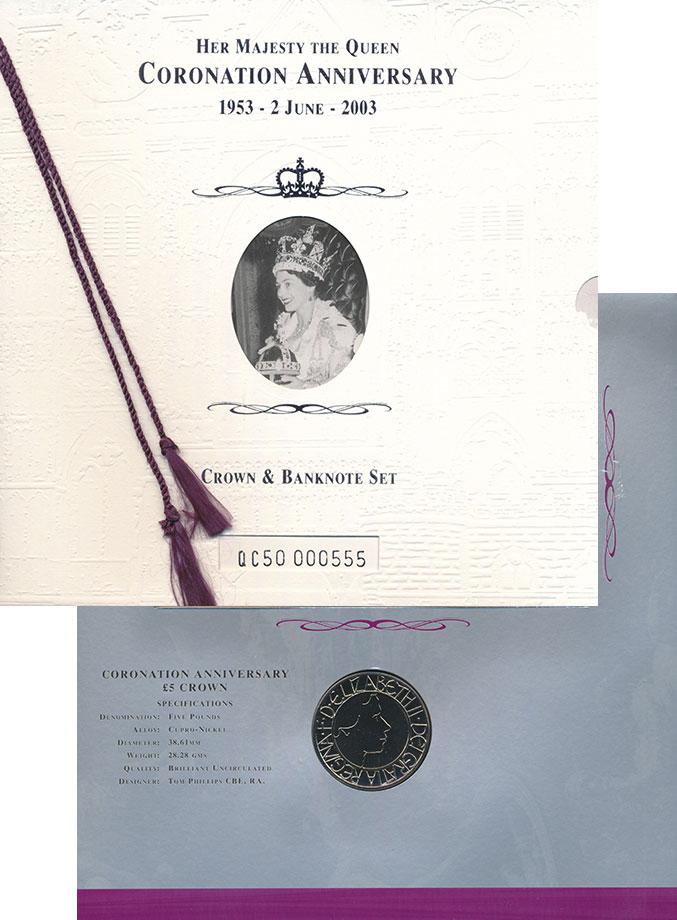 Изображение Подарочные монеты Великобритания 50 лет Коронации Елизаветы II 2003 Медно-никель UNC Памятный буклет с юб