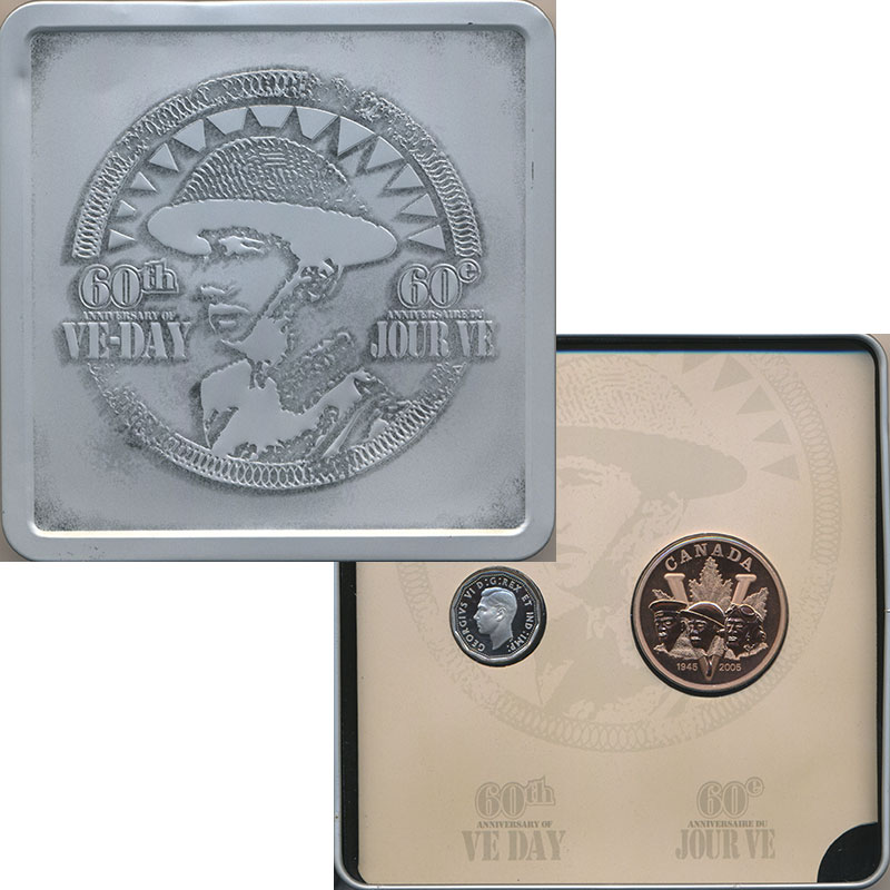 Изображение Подарочные монеты Канада 60 лет победы в Второй Мировой Войне 2005 Серебро Proof Юбилейные 5 центов и