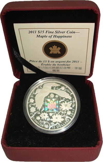 Изображение Подарочные монеты Канада 15 долларов 2011 Серебро Proof Клён счастья. Серебр