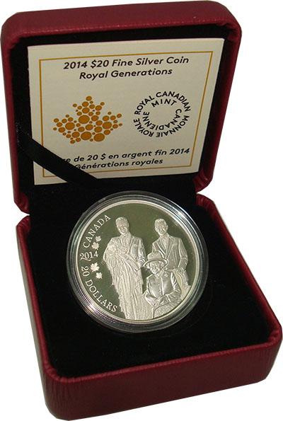 Изображение Подарочные монеты Канада 20 долларов 2014 Серебро Proof Поколения королей. С