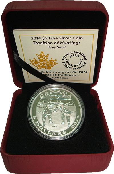 Изображение Подарочные монеты Канада 5 долларов 2014 Серебро Proof традиционная охота н