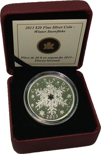 Изображение Подарочные монеты Канада 20 долларов 2013 Серебро Proof Снежинка. Серебро 99