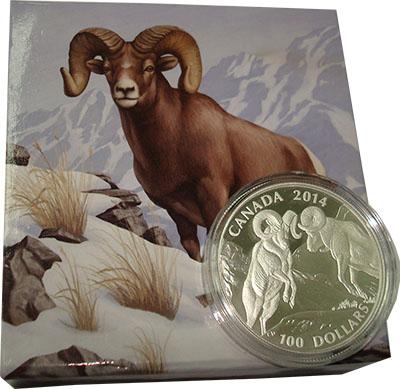 Изображение Подарочные монеты Канада 100 долларов 2014 Серебро Proof Снежный баран. Сереб