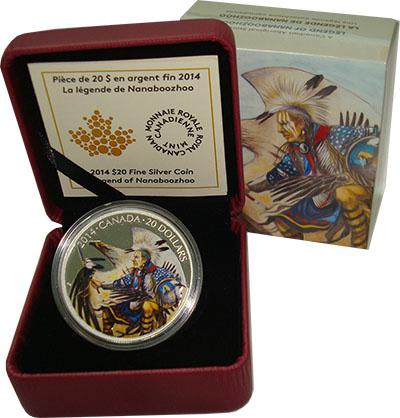 Изображение Подарочные монеты Канада 20 долларов 2014 Серебро Proof Легенда о Нанабожо.