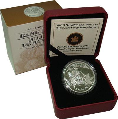 Изображение Подарочные монеты Канада 5 долларов 2014 Серебро Proof `Серия ``Банкноты``